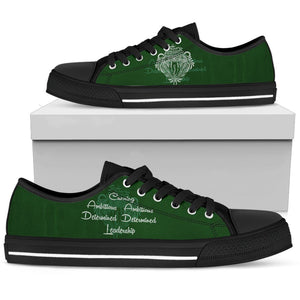Harry Potter 4 House Men's Low Top Canvas Shoe HP0053 - Slytherin - Black / US5 (EU38) - Ineffable Shop