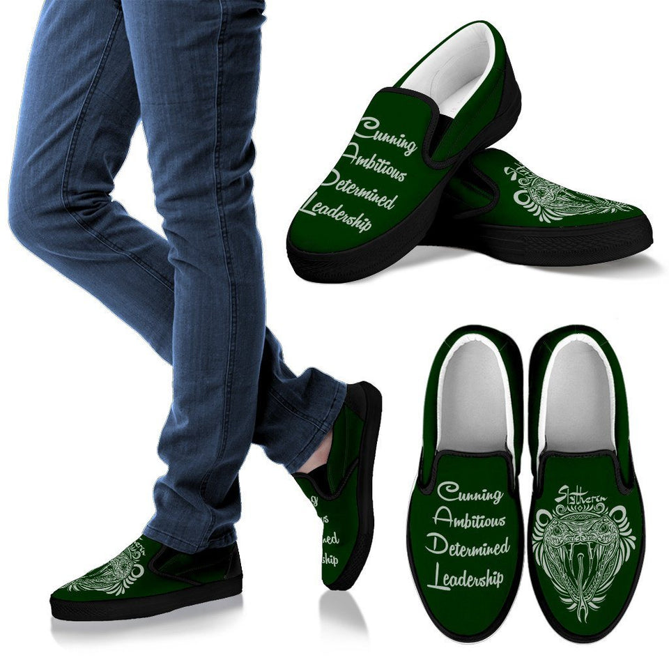 Harry Potter 4 House Men's Slip Ons HP0055 - Slytherin - Black / US8 (EU40) - Ineffable Shop