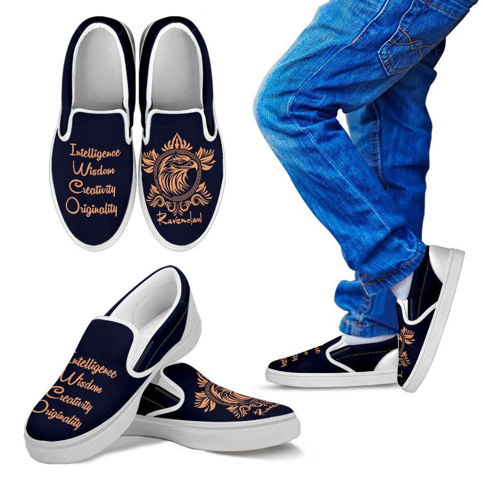 Harry Potter 4 House Kid's Slip Ons HP0056 - Ravenclaw - White / 11 CHILD (EU28) - Ineffable Shop