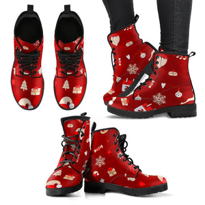 Happy Christmas Leather Boots - - Ineffable Shop