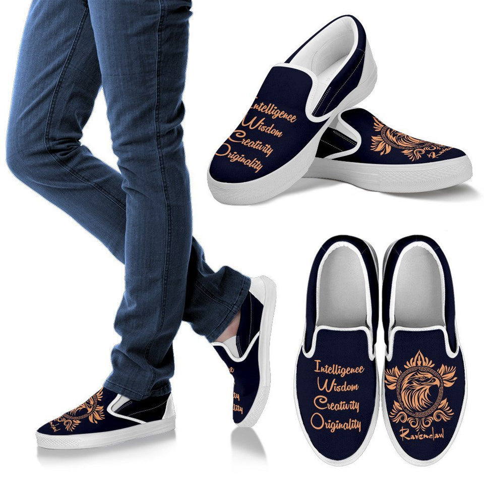 Harry Potter 4 House Men's Slip Ons HP0055 - Ravenclaw - White / US8 (EU40) - Ineffable Shop