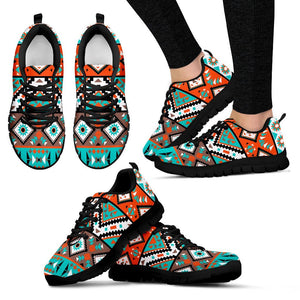 Native American Indian Pattern Women's Shoes NT087 - Women's Sneakers - Black - Native American 1 / US5 (EU35) - Ineffable Shop