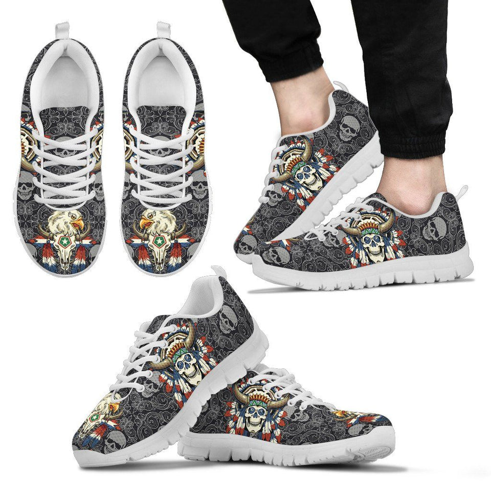 Native American Skull Men's Running Shoes NT113 - Men's Sneakers - White - Native American 2 / US5 (EU38) - Ineffable Shop