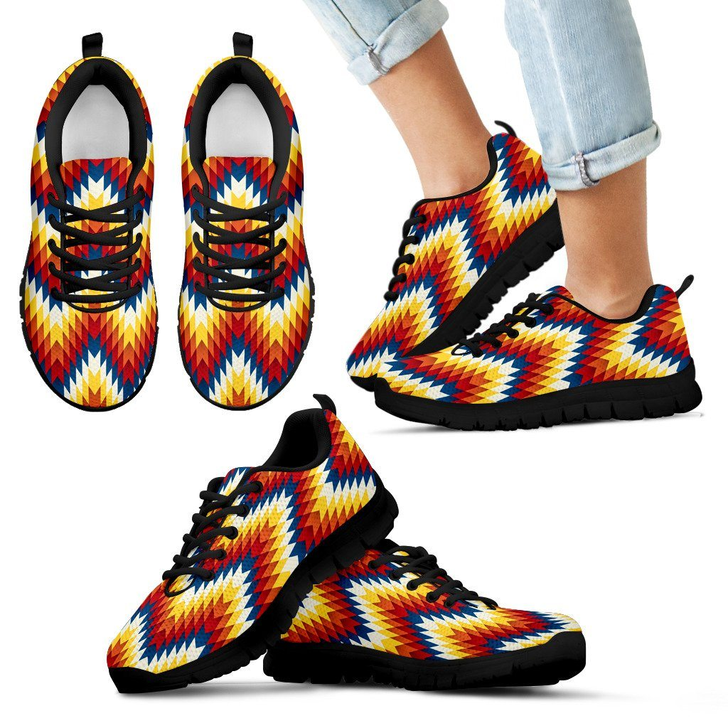 New Native American Indian Kid's Sneaker Design NT068 - Kid's Sneakers - Black - Native 1 / 11 CHILD (EU28) - Ineffable Shop