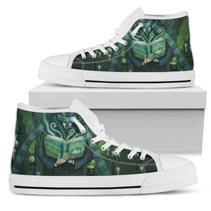 Harry Potter 4 House Women's High Top Shoe HP0124 - Slytherin - White / US5.5 (EU36) - Ineffable Shop