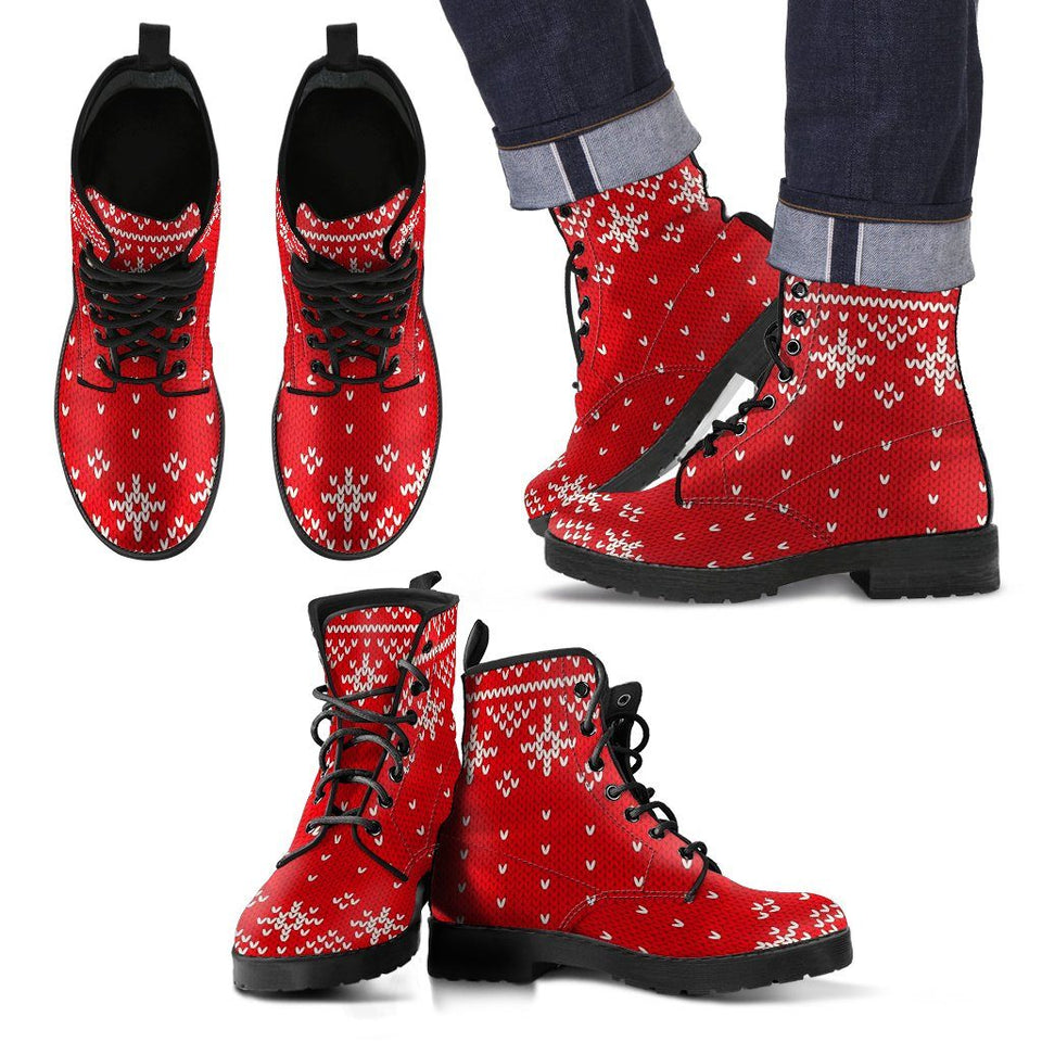 Christmas Pattern Costume Leather Boots