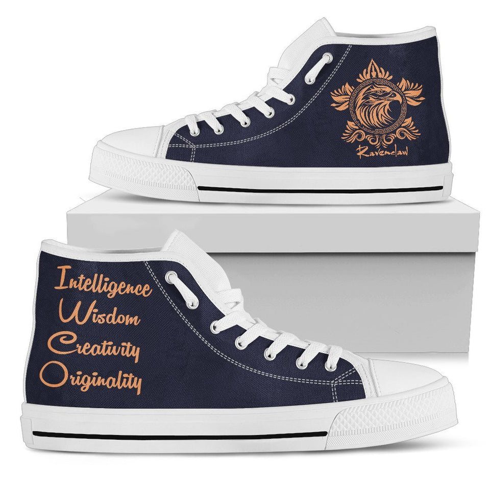 Harry Potter 4 House Women's High Top Canvas Shoe HP0050 - Ravenclaw - White / US5.5 (EU36) - Ineffable Shop