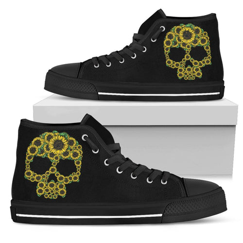 Skull Sunflower Women's High Top Shoe - Womens High Top - Black - Skull sunflower Black sole / US5.5 (EU36) - Ineffable Shop