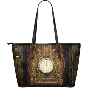 Vintage Steampunk Clock Large Leather Tote - Ineffable Shop
