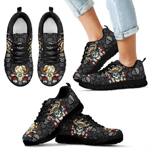 Native American Skull Kid's Running Shoes NT114 - Kid's Sneakers - Black - Native American 1 / 11 CHILD (EU28) - Ineffable Shop