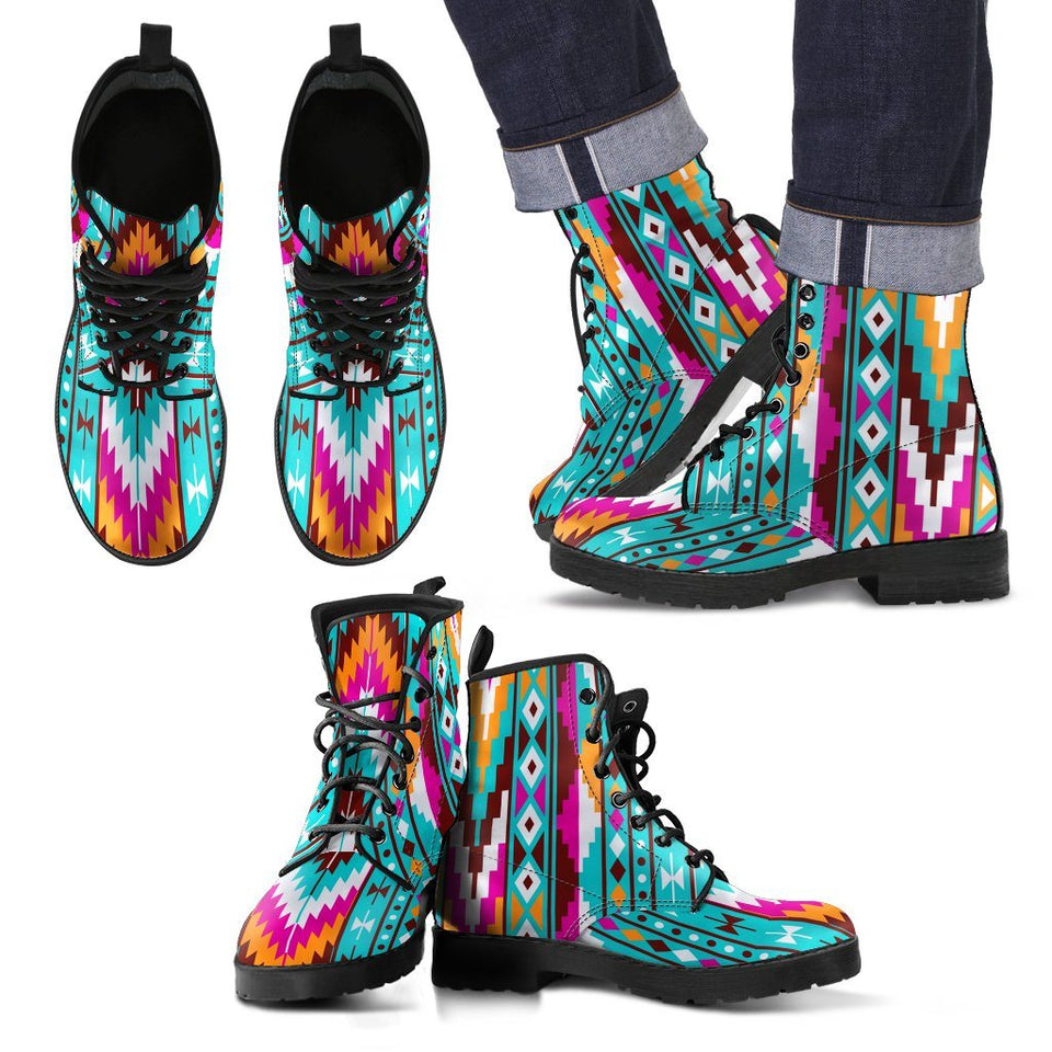 Native American Pattern Leather Boots Design NT011 - Men's Leather Boots - Black - Native 2 / US5 (EU38) - Ineffable Shop