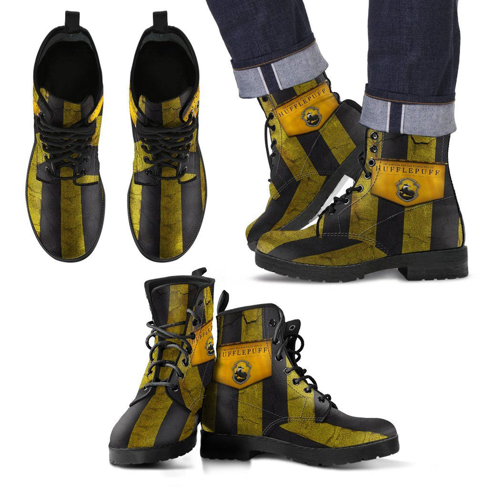 Harry Potter 4 House Men's Leather Boots Design HP0116 - Hufflepuff / US5 (EU38) - Ineffable Shop