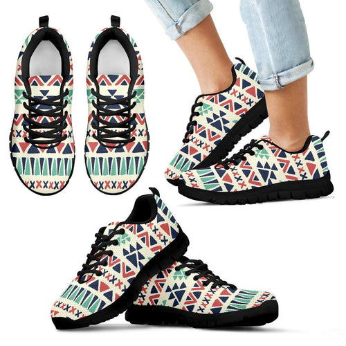 Native American Pattern Kid's Running Shoes Design NT092 - Kid's Sneakers - Black - Native American 1 / 11 CHILD (EU28) - Ineffable Shop