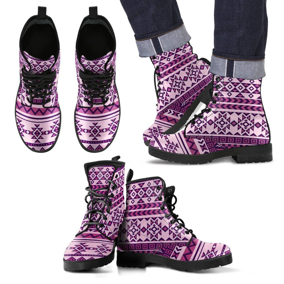 Native American Purple Pattern Leather Boots NT016 - Men's Leather Boots - Black - Native 2 / US5 (EU38) - Ineffable Shop