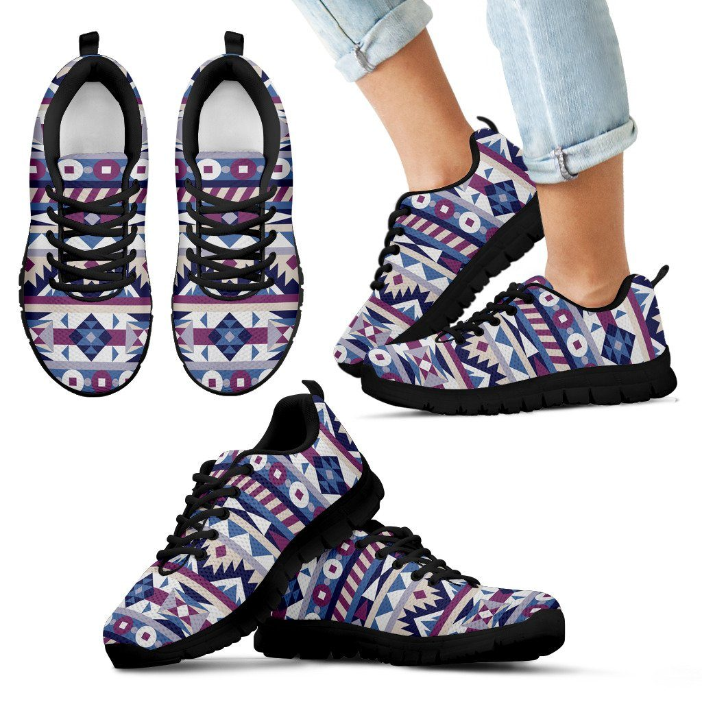 Native American Purple Pattern Kid's Sneakers NT083 - Kid's Sneakers - Black - Native American 1 / 11 CHILD (EU28) - Ineffable Shop