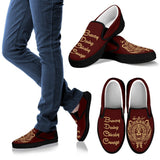 Harry Potter 4 House Men's Slip Ons HP0055 - Gryffindor - Black / US8 (EU40) - Ineffable Shop