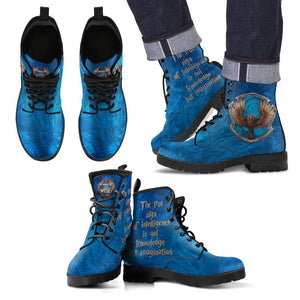 Harry Potter 4 House Men's Leather Boots HP0107 - Ravenclaw / US5 (EU38) - Ineffable Shop