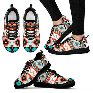 Native American Pattern Women's Running Shoes NT078 - Women's Sneakers - Black - Native American 1 / US5 (EU35) - Ineffable Shop