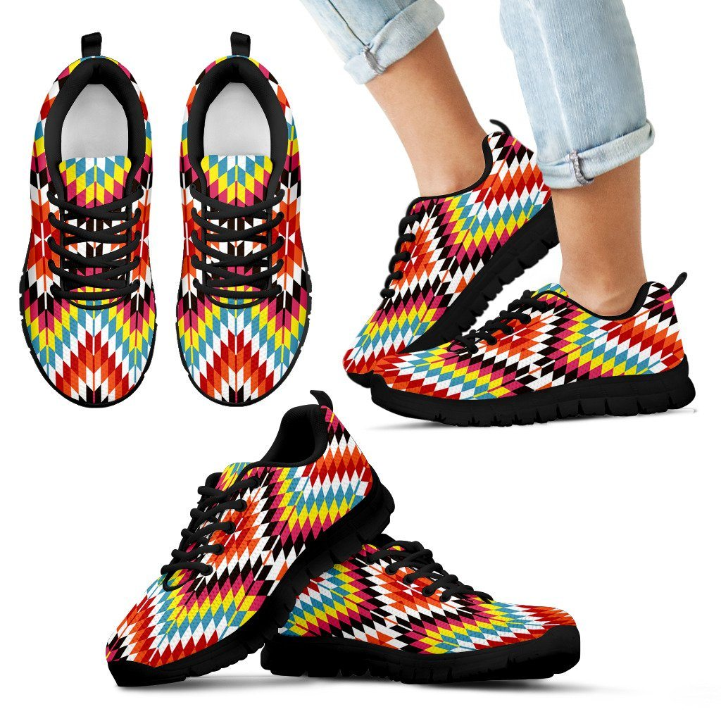 Native American Indian Kid's Sneaker Design NT065 - Kid's Sneakers - Black - Native 1 / 11 CHILD (EU28) - Ineffable Shop