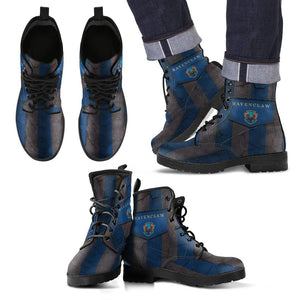 Harry Potter 4 House Men's Leather Boots Design HP0116 - Ravenclaw / US5 (EU38) - Ineffable Shop