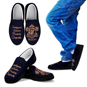 Harry Potter 4 House Kid's Slip Ons HP0056 - Ravenclaw - Black / 11 CHILD (EU28) - Ineffable Shop
