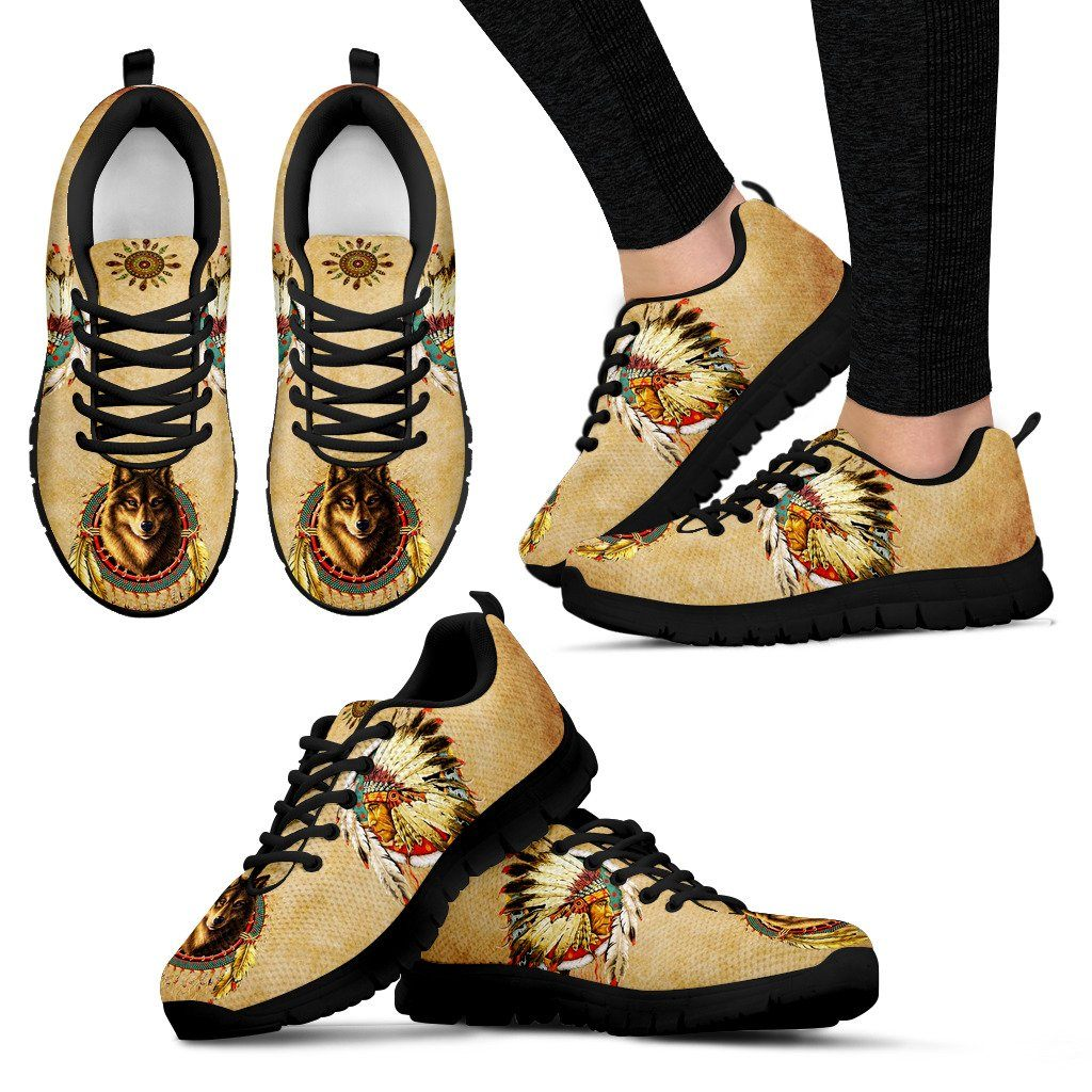 Native American And Wolf Women's Running Shoes NT106 - Women's Sneakers - Black - Native American 1 / US5 (EU35) - Ineffable Shop