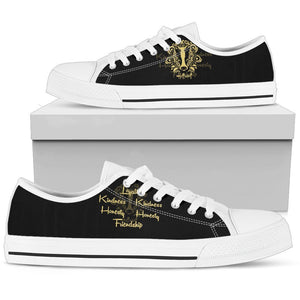 Harry Potter 4 House Men's Low Top Canvas Shoe HP0053 - Hufflepuff - White / US5 (EU38) - Ineffable Shop