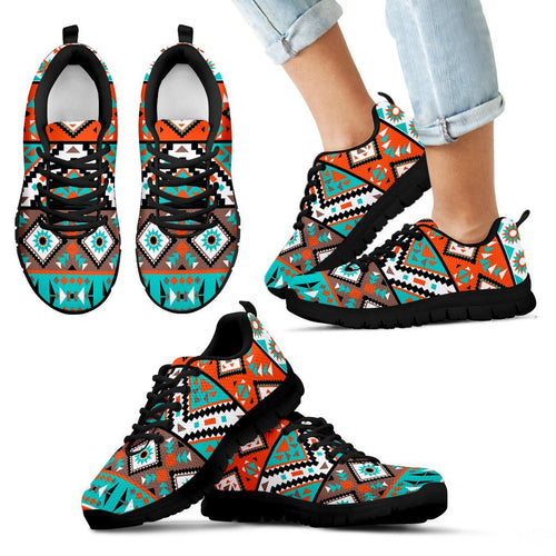 Native American Indian Pattern Kid's Shoes NT089 - Kid's Sneakers - Black - Native American 1 / 11 CHILD (EU28) - Ineffable Shop