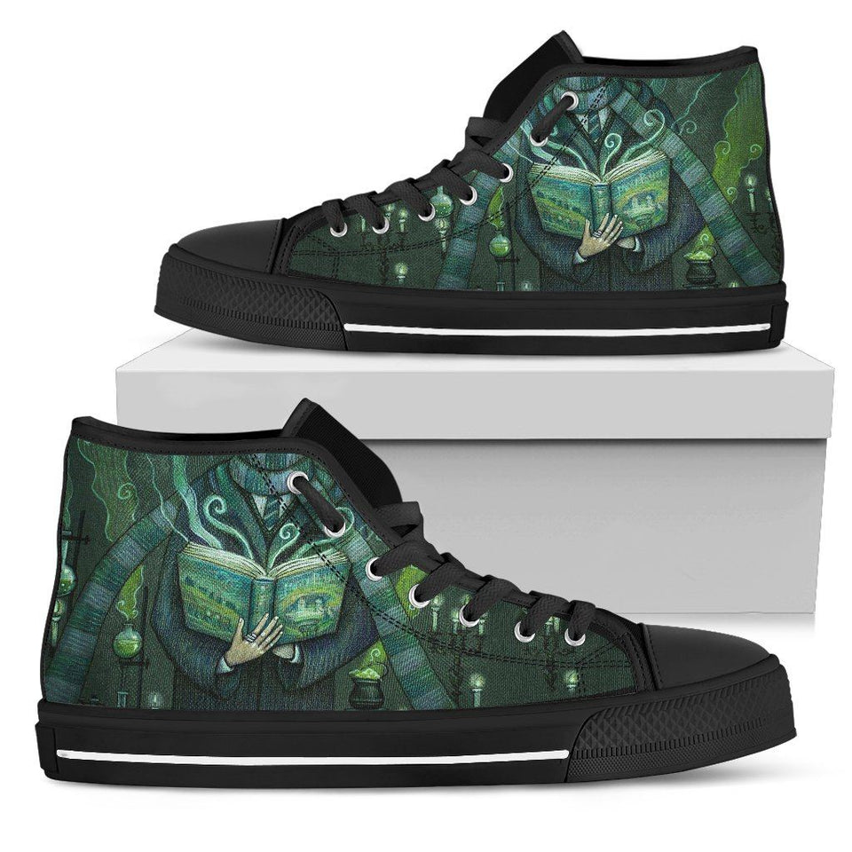 Harry Potter 4 House Women's High Top Shoe HP0124 - Slytherin - Black / US5.5 (EU36) - Ineffable Shop