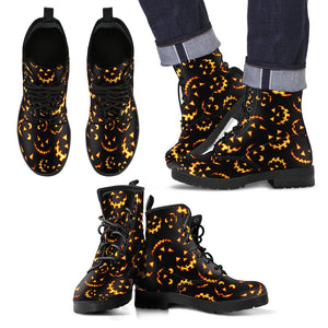 Halloween Black Cat Leather Boots HLW004 - Men's Leather Boots - Black - Halloween 2 / US5 (EU38) - Ineffable Shop