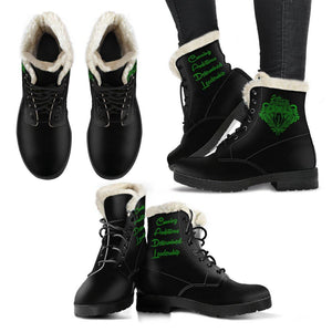 HARRY POTTER Slytherin Faux Fur Leather Women's Boots - Black version - - Ineffable Shop