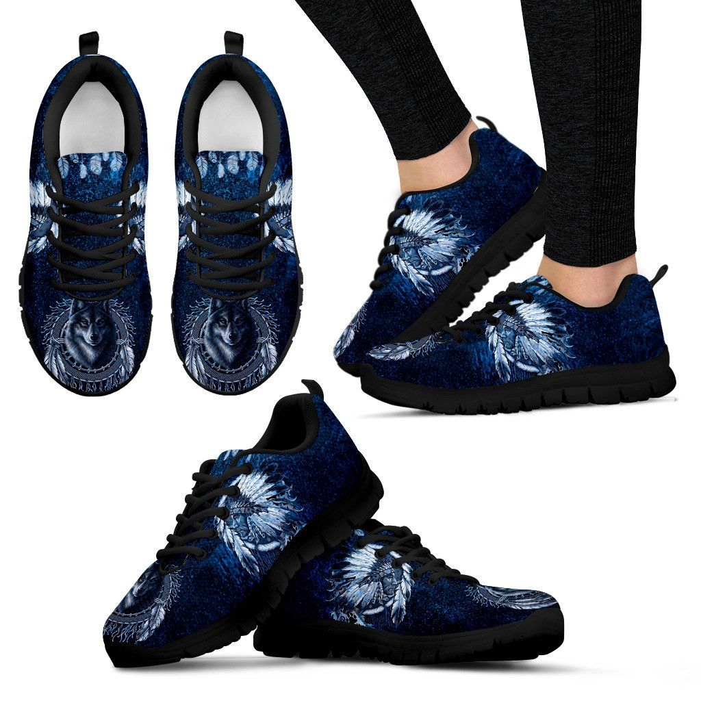 Native American Wolf Women's Running Shoes NT098 - Women's Sneakers - Black - Native American 1 / US5 (EU35) - Ineffable Shop