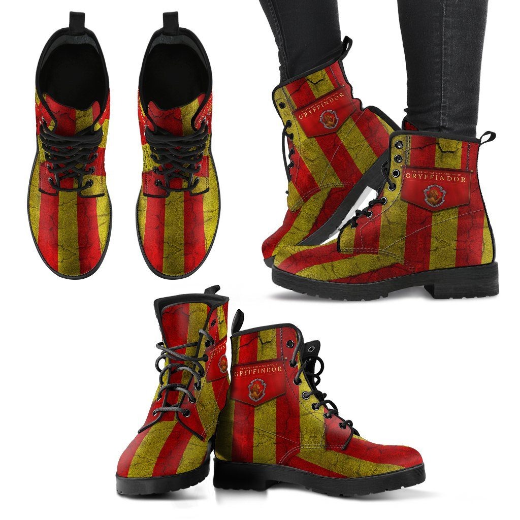 Harry Potter 4 House Women's Leather Boots Design HP0115 - Gryffindor / US5 (EU35) - Ineffable Shop