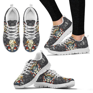 Native American Skull Women's Running Shoes NT112 - Women's Sneakers - White - Native American 2 / US5 (EU35) - Ineffable Shop