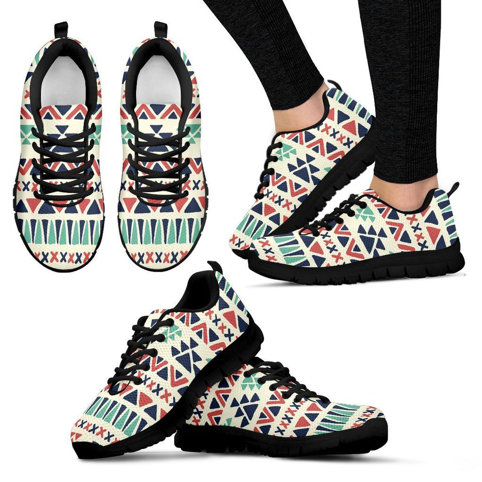 Native American Pattern Women's Running Shoes Design NT090 - Women's Sneakers - Black - Native American 1 / US5 (EU35) - Ineffable Shop