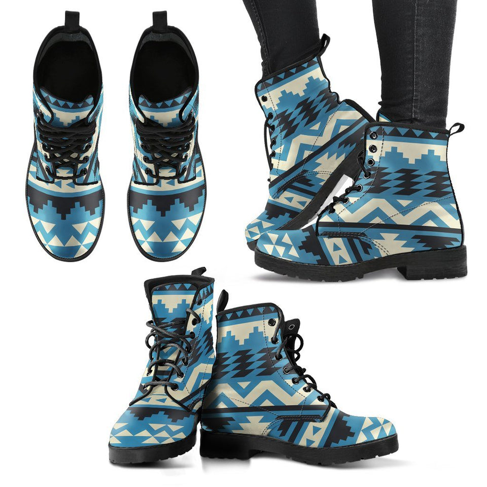 Native American Pattern Leather Boots - - Ineffable Shop