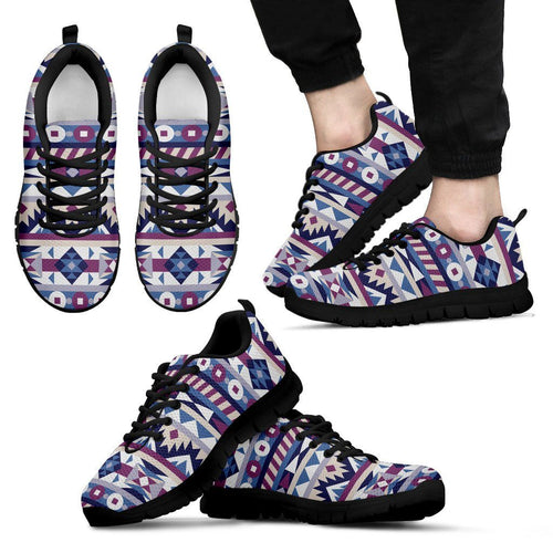 Native American Purple Pattern Men's Sneakers NT082 - Men's Sneakers - Black - Native American 1 / US5 (EU38) - Ineffable Shop