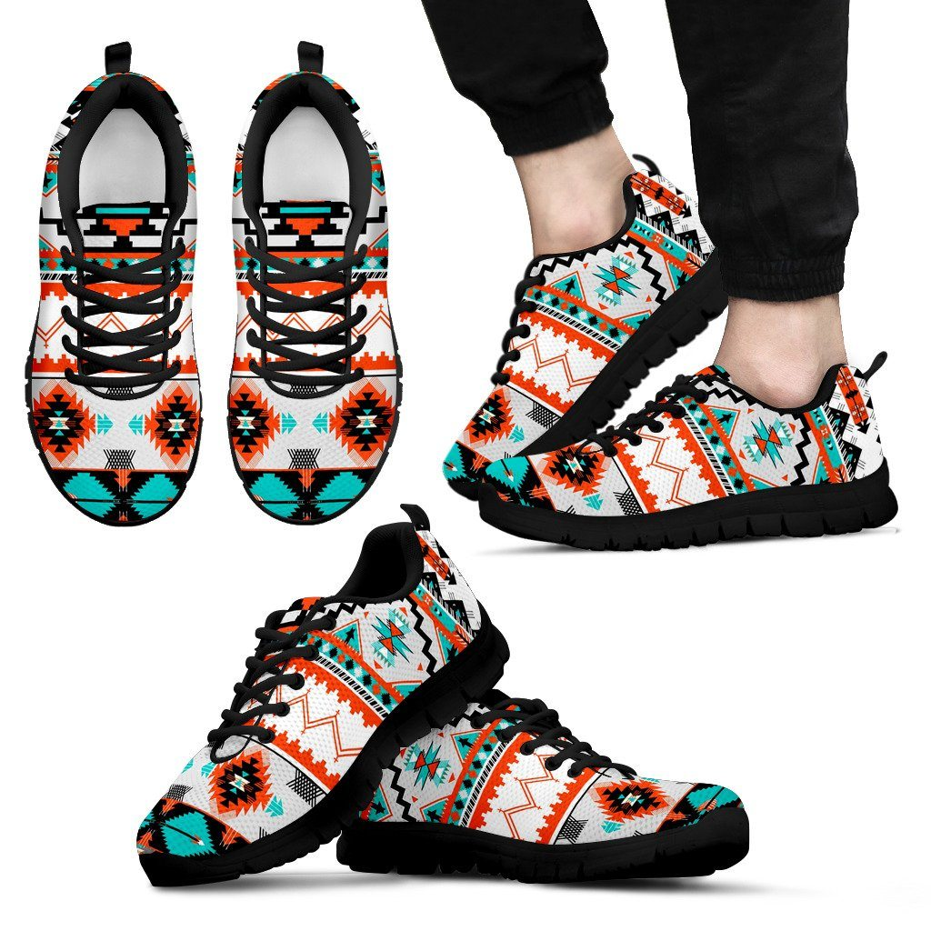 Native American Pattern Men's Running Shoes NT079 - Men's Sneakers - Black - Native American 1 / US5 (EU38) - Ineffable Shop