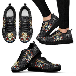 Native American Skull Women's Running Shoes NT112 - Women's Sneakers - Black - Native American 1 / US5 (EU35) - Ineffable Shop