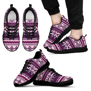 Native American Purple Pattern Men's Sneakers NT070 - Men's Sneakers - Black - Native 1 / US5 (EU38) - Ineffable Shop