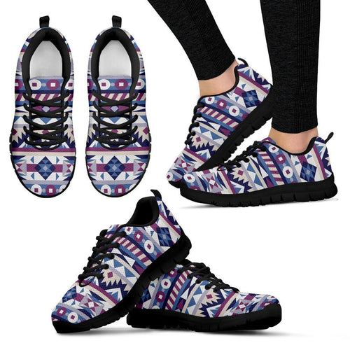 Native American Purple Pattern Women's Sneakers NT081 - Women's Sneakers - Black - Native American 1 / US5 (EU35) - Ineffable Shop