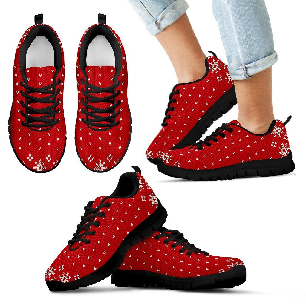 Christmas Red Pattern Kid's Running Shoes - Kid's Sneakers - Black - Christmas 1 / 11 CHILD (EU28) - Ineffable Shop