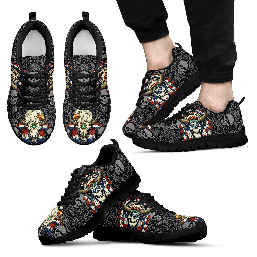 Native American Skull Men's Running Shoes NT113 - Men's Sneakers - Black - Native American 1 / US5 (EU38) - Ineffable Shop