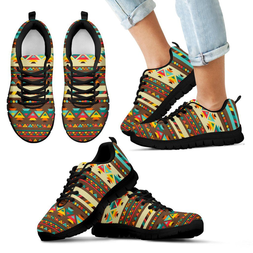 Native American Indian Pattern Kid's Shoes NT086 - Kid's Sneakers - Black - Native American 1 / 11 CHILD (EU28) - Ineffable Shop