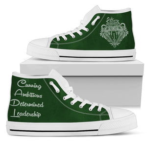Harry Potter 4 House Women's High Top Canvas Shoe HP0050 - Slytherin - White / US5.5 (EU36) - Ineffable Shop