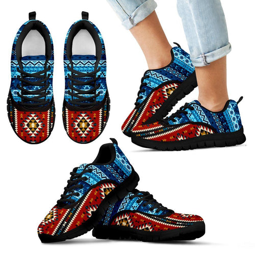 Native American Pattern Kid's Costume Shoes NT097 - Kid's Sneakers - Black - Native American 1 / 11 CHILD (EU28) - Ineffable Shop