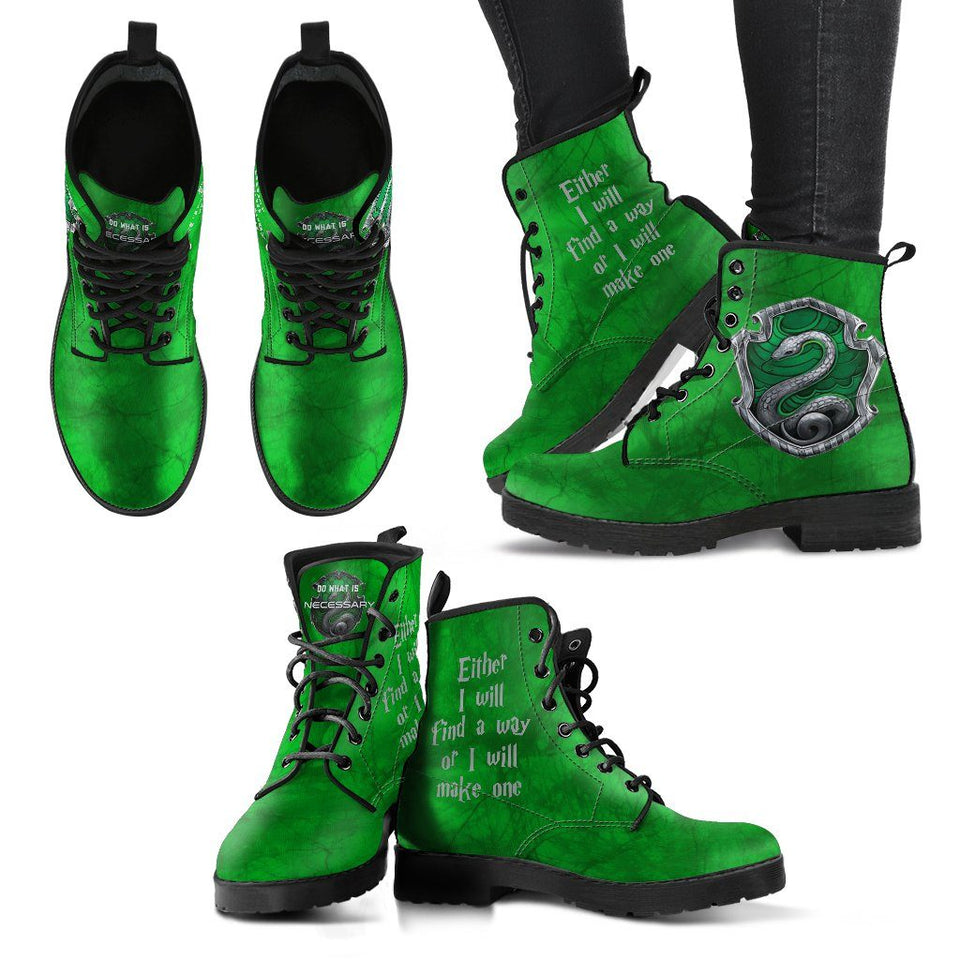Harry Potter 4 House Women's Leather Boots HP0106 - Slytherin / US5 (EU35) - Ineffable Shop