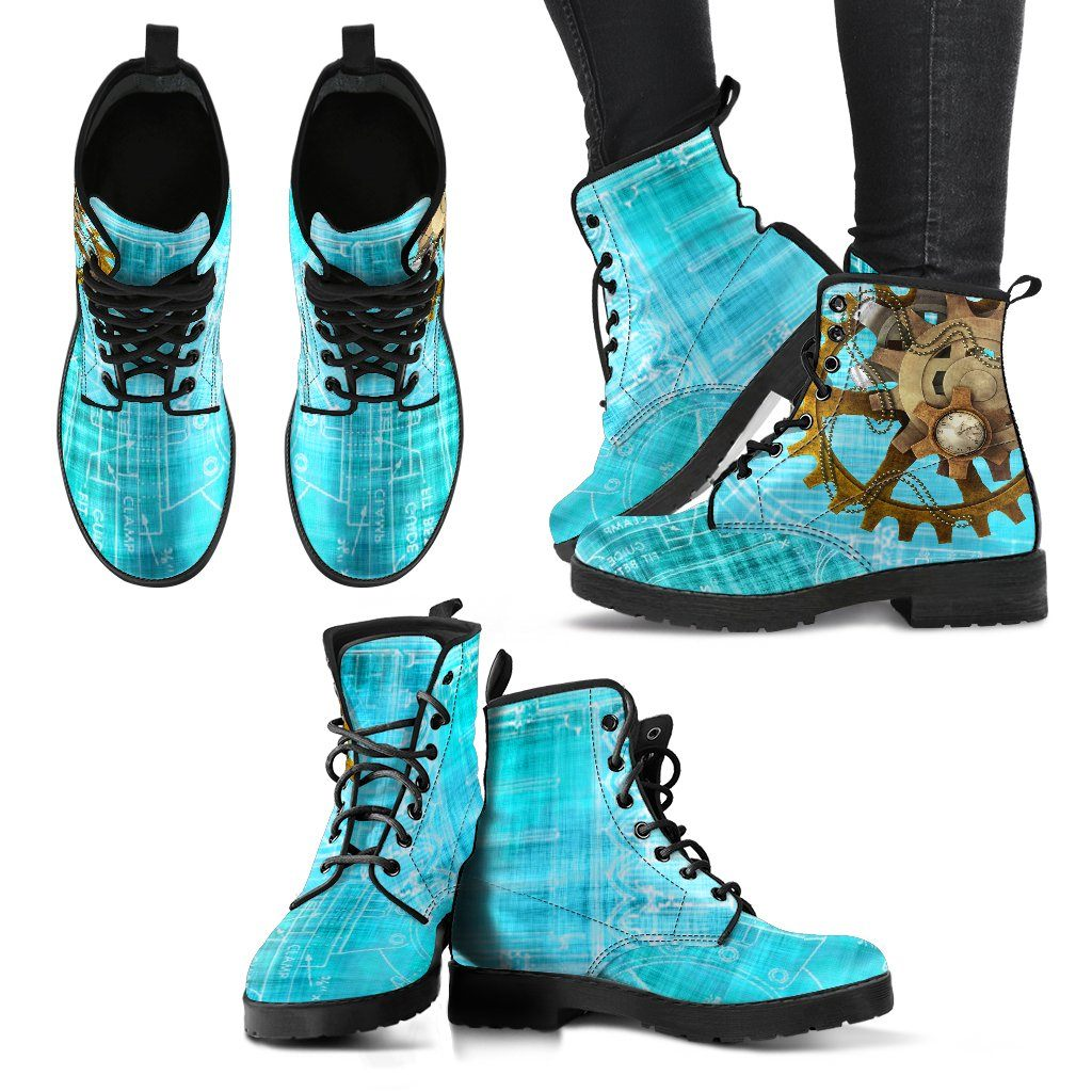 Steampunk Blue Women's Leather Boots - Ineffable Shop