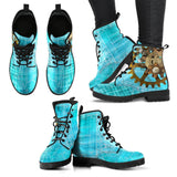 Steampunk Blue Women's Leather Boots - - Ineffable Shop