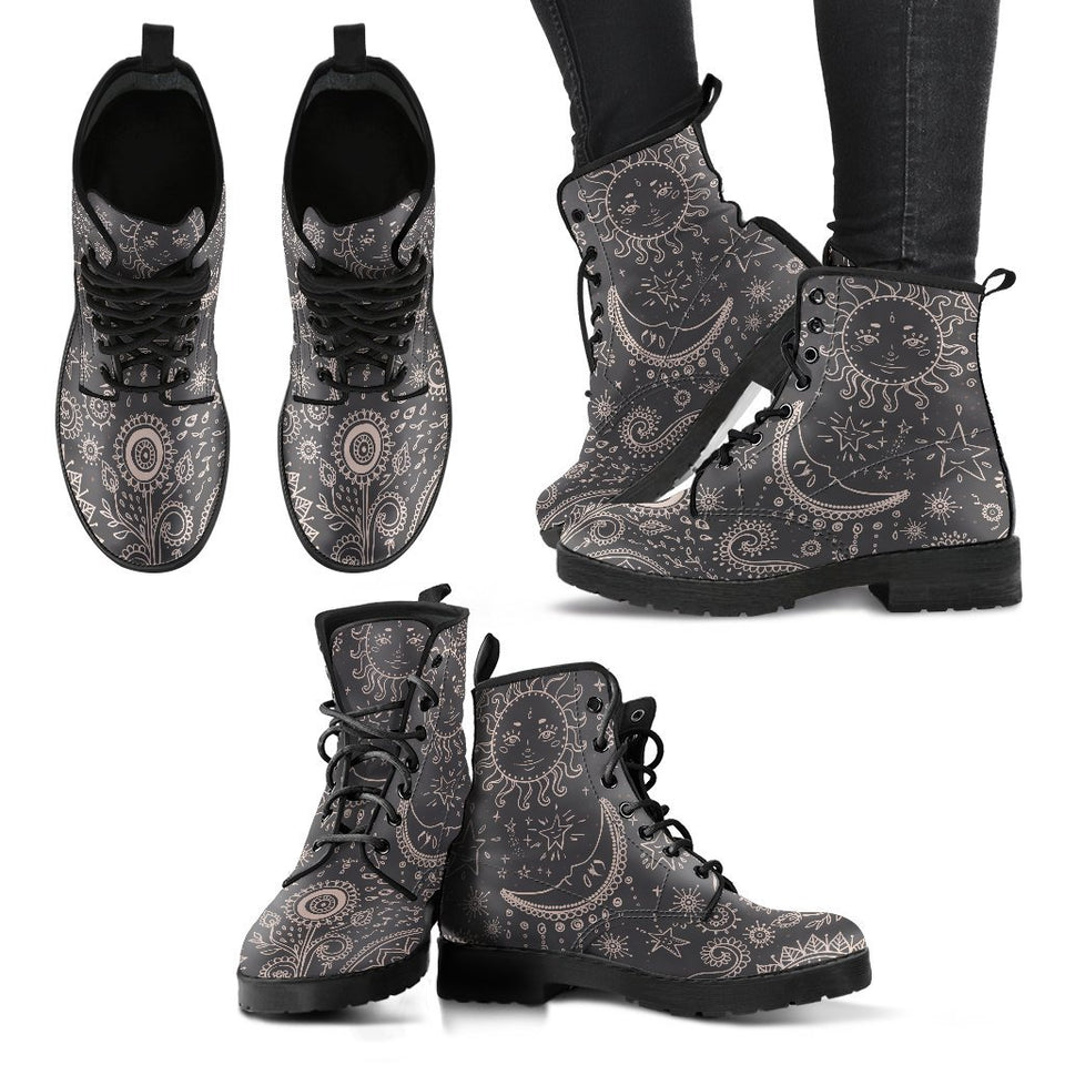 Vintage Sun and Moon Women's Leather Boots - - Ineffable Shop